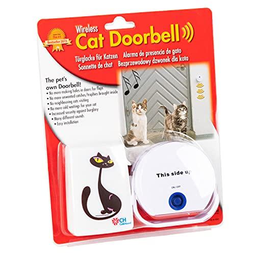 Cat Doorbell – Türklingel für Katzen mit Licht und Tonsignal, Katzenklingel, Alternative für Katzenklappe, Bewegungsmelder, Türsensor