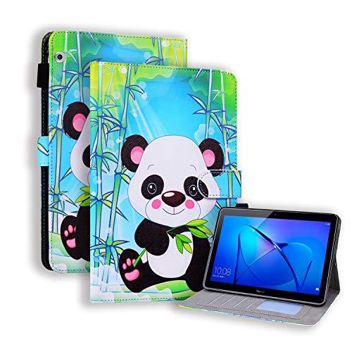 KimsCase Funda para Huawei MediaPad T3 10 9.6 Pulgadas Libro Piel Cuero Silicona con Tapa y Cartera Magnetica Dibujos Resistente Carcasa Case Antigolpes TPU Bumper Kawaii Cover - Panda