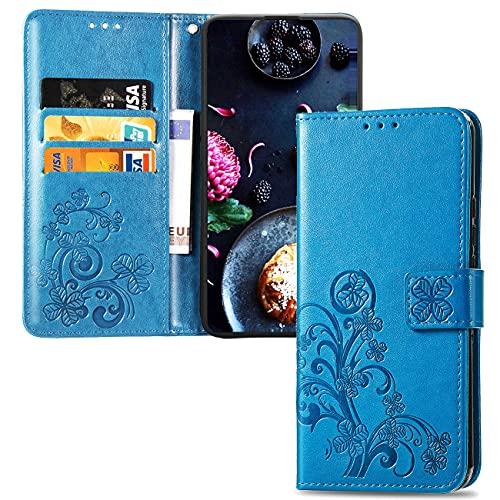 QIWEIQING Kompatibel mit Xiaomi Pocophone F1 Hülle Gemalt Muster Flip Wallet Handyhülle, PU-Leder Hülle mit Kartenschlitz Magnetschnalle Schutzhülle für Xiaomi Pocophone F1 Blue Leaf SD