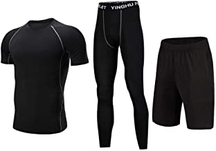 Huangxiaofang Trainingskleidung für Herren Compression Kurzarm T-Shirt Shorts Herren Active Athletic Performance Set 3 Pack Kompressionshose für Radfahren Laufen Gym Fitness (Color : Black, Size : L)