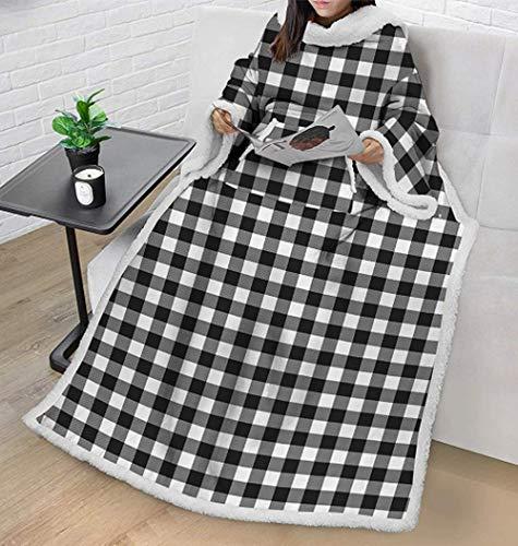 Wearable Premium Fleece Blanket with Sleeves for Adult Women Men,Super Soft Warm Comfy Large Fleece Plush Sleeved Blanket. (Style B)