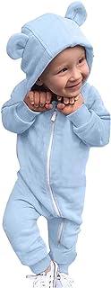 طفل الفتيات الفتيان رومبير الخريف الشتاء الدافئة الملابس الوليد مقنع بذلة 0-24 متر (Color : Blue, Kid Size : 18-24 Months)