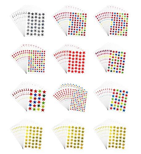 Pack de 6180 pcs autoadhesivo colores surtidos láser brillantes estrella pegatinas niños estudiantes recompensas profesores suministros