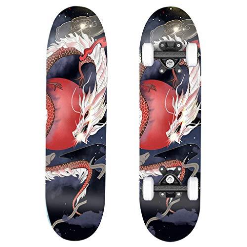 Skateboarden Aus Ahornmaterial Doppelseitiges Aufkleberbild, Normale Halterung, Explosionsgeschütztes Lager Double Tilt Kinder Und Anfänger Geeignet (Color : Red, Size : 60 * 15cm)