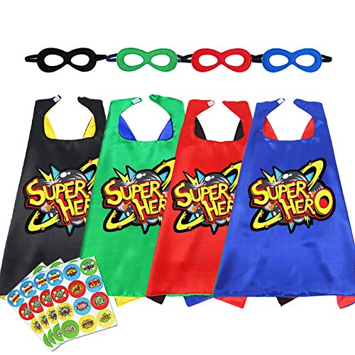 D.Q.Z Superhero Capes for Kids with Masks Super Hero DIY Stickers for Boys Girls Birthday Dress Up Party,4 Pack
