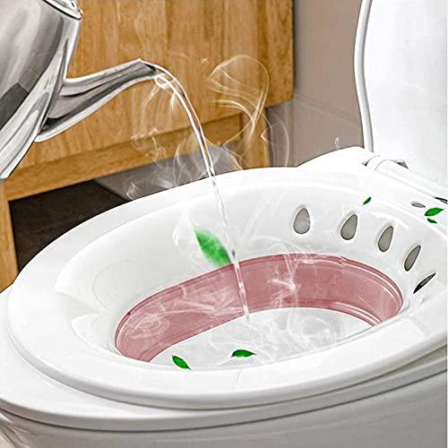 joyvio Toilet Sitz-baden - Draagbare Sitz-badbekken voor behandeling van aambeien, postpartumzorg, zwangere vrouwen, perineum, inwekende episiotomie-verlichting en ouderen (Color : Pink)