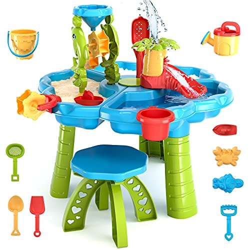 TEMI 3-in-1 Sand Water Table, 28PCS Kids Beach Summer Toys Sandbox Table Outdoor Activity Sensory Play Table with Dolphin Water Wheel, Molds, Bucket, Shovel for Toddlers Boys Girls