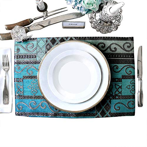 Artbisons Sets of 6 Place Mats Blue Abstract 16x12 Thickly Soft Luxury Handmade Table Mats