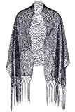 ArtiDeco Damen Umschlagtücher Stola für Abendkleid 1920s Retro Schal Hochzeit Party Braut Schal Gatsby Kostüm Accessoires (Dunkelblau)