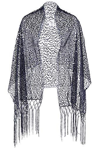 ArtiDeco ArtiDeco Damen Umschlagtücher Stola für Abendkleid 1920s Retro Schal Hochzeit Party Braut Schal Gatsby Kostüm Accessoires (Dunkelblau)