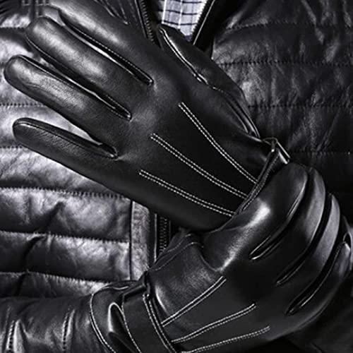 QiKun-Home Leren handschoenen met aanraakscherm Upgrade van leren handschoenen voor heren Leren handschoenen met aanraakscherm van schapenvacht Heren met zeven tekens Zwart upgrade Aanraakscherm