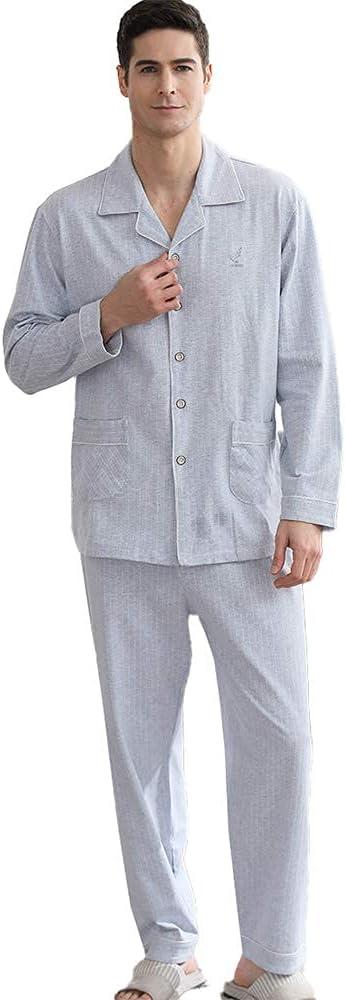 FMOGG Men's Pajama Set Long Sleeve Stripe Sleepwear Lightweight Button Down Tops and Pants/Bottoms Classic Cotton Loungewear Set