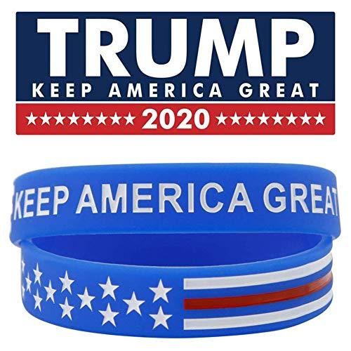 Elibeauty Keep America Great Donald Trump for President 2020 Pulseras de silicona - Pulseras inspiradoras (azul tipo 3)