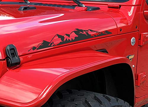 Decal for Jeep Wrangler Hood Decals Sticker Mountains III Compatible with All Jeeps JK TJ YJ CJ or Any Truck Sedan Pair Set of 2Black Matte
