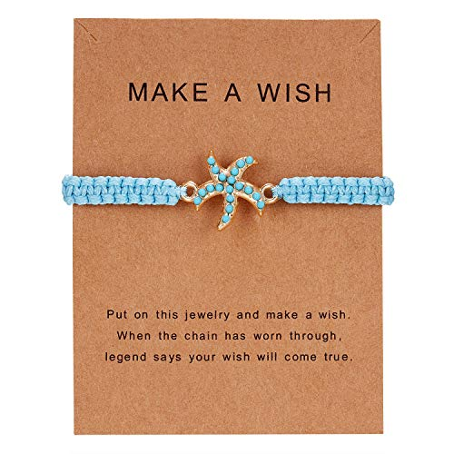 Christmas Gifts Bracelets for Women Girls, Starfish Bracelet Charm Bangle Friendship Best Friends Bracelet Christmas Gifts for Mom Daughter Aunt Niece Sister Gifts with Message Card