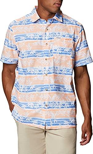 Columbia Super Slack Tide - Camisa de Campamento para Hombre, Hombre, Super Slack Tide - Camiseta de Campamento, 165376, Brillante Néctar Ombre Fish Stripe, Small