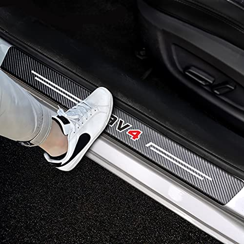 Yousthka 4pcs/Set Door Entry Guard Carbon Fiber Textured Leather Car Door Sill Protector Stickers...