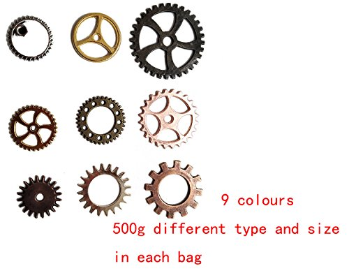 Misscrafts Steampunk Gear Wheels Accessories 500g Mixed 9 Colors for Craft Jewelry Making steampunk buy now online