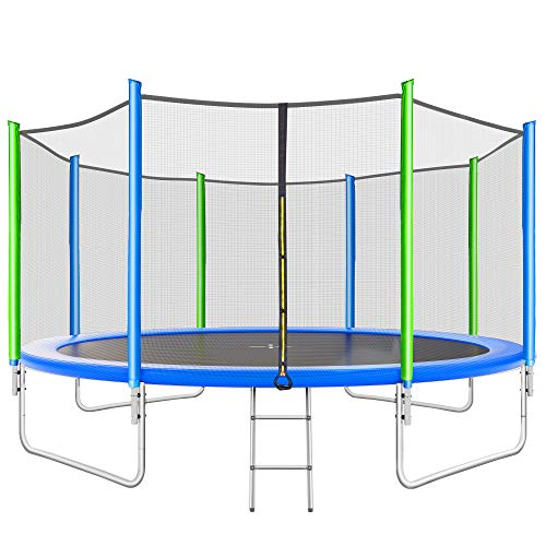 Merax 12FT Trampoline with 8 Wind Stakes, Safety Enclosure Net, and Ladder, Outdoor Trampoline for Kids, Adults (Blue, 12FT)