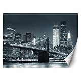 Feeby Fotomurales Nueva York Nyc Rascacielos 254x184 cm blanco y negro Tejido No Tejido Papel Tapiz Fotográfico Decorativos Murales Dormitorio Oficina Hotel Spa Manhattan De Noche