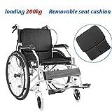 Xink-Wheelchairs De Aluminio Ligero de Transporte Silla de Ruedas Plegable con 17 Pulgadas Extra Ancha Asiento Plegable autopropulsadas Las sillas de Ruedas Pueden soportar 150 kg (Color : Black)