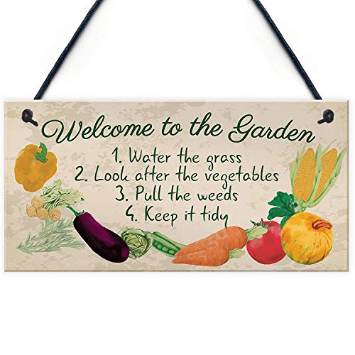 MAIYUAN Welcome to The Garden Wood Plaque Garden Shed Summer House Sign Gardening Nan Mum Gifts 10' X 5'
