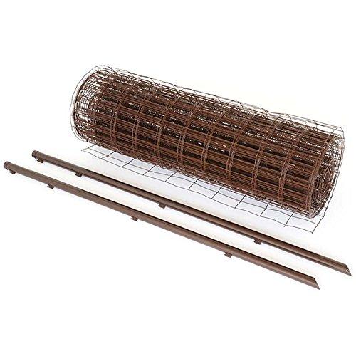 アニマルフェンス 1.5×15m ブラウン フェンス金網と支柱11本のセット 茶 ドッグラン 柵 屋外 庭 畑 家庭菜園 ペット ドックラン シN直送