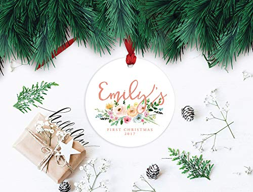 JamirtyRoy1 Newborn Ornament, First Christmas, Baby Girl Ornament, Ornament Baby Girl, First Christmas 2018, Baby girl's First, Christmas Floral Keepsake Gift, 3' Christmas Ornament