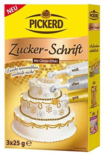 ZUCKERSCHRIFT MIT GLITZER - EFFEKT (GOLD - SILBER - WEISS / 3 x 25 g) VERLÄUFT NICHT