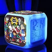 Cute Cartoon Undertale Sans and Papyrus Cartoon Game Digital Alarm Desktop Clock with 7 Changing LED Clock (Style 1)