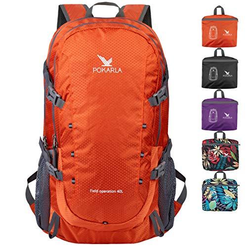 POKARLA 40L Foldable Rucksack Travel Hiking Daypack Durable Lightweight Walking Camping...