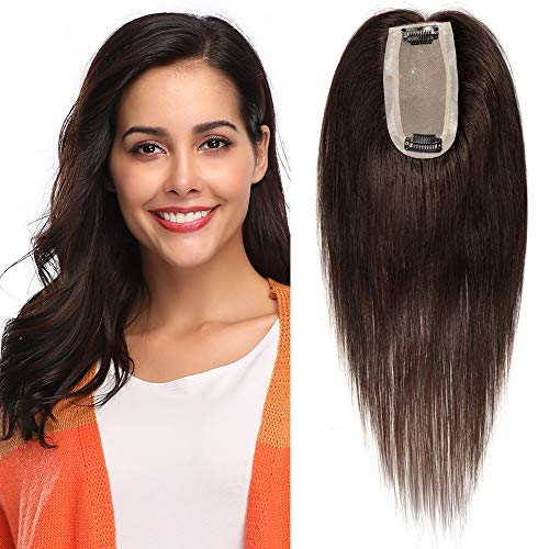 Haarteile Echthaar Extensions Clip in Toupee Haarverlängerung Toupet für Frauen Glatt weich Haarteil 6 * 13cm Seide Basis 35cm 02# Dunkelbraun