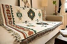 SHIYANTQ - Manta tribal étnica azteca con estampado navajo geométrico para sofá, decoración bohemia