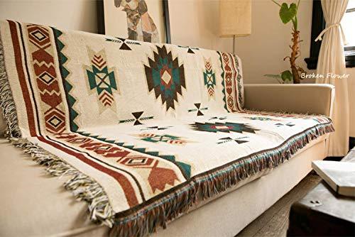 SHIYANTQ Decke im Ethno-Stil, geometrisch, Aztekenmuster, Navajo-Decke, Überwurf für Sofa, Kunst-Deko, Boho-Decke, 90 x 90 cm (0,35 kg)