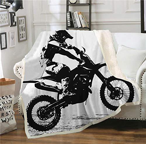 SHOMPE Dirt Bike Throw Blanket Motocross Racer Extreme Sports Printed Soft 3D Cool Plush Sherpa Kids Men Women Fleece Blankets 50'x 60'