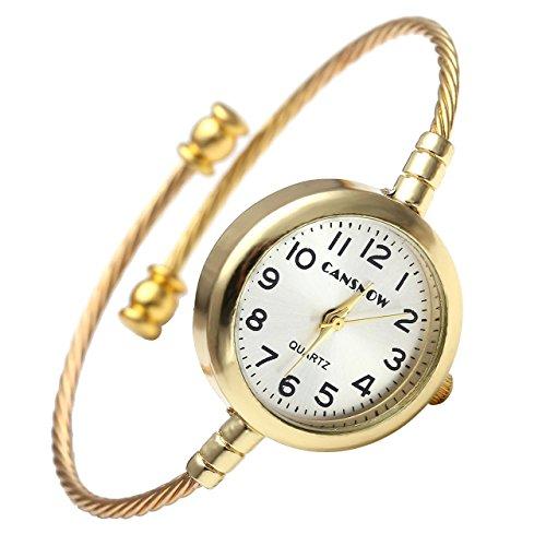 JSDDE Uhren Damen Lässig Armbanduhr Arabisch Zifferblatt Stahldraht Metall Band Spangenuhr Armreif Uhr Analoge Quarzuhr für Frauen Männer Gold