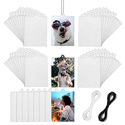 50 Pcs Sublimation Car Air Freshener Blanks, Car Hanging Accessories, Diy Car Accessories Crafts White Sheets with Elastic Strings