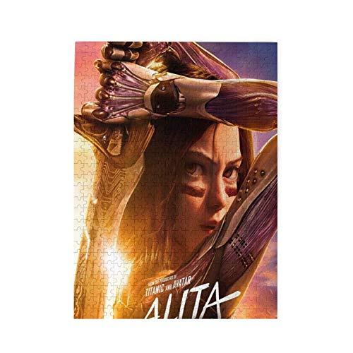 Alita Battle Angel Puzzles Personalisiertes Bild-Puzzle für Erwachsene Teenager Jungen Mädchen, Weiß, 500 Stück