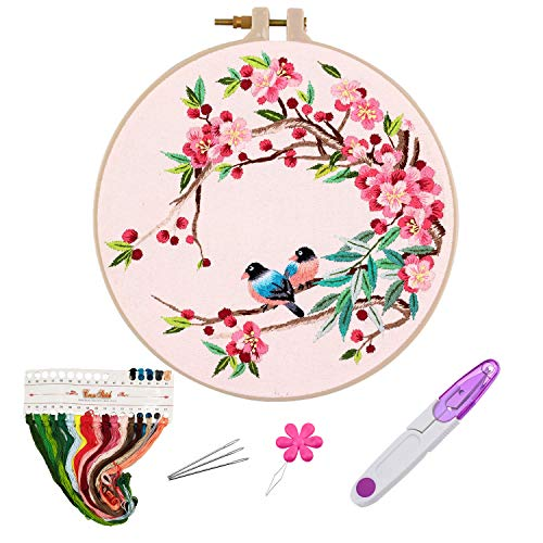 Embroidery Kits with Pattern for Beginners Starter,YOUYOUTE Full Range of Stamped Cross Stitch Kit with Embroidery Hoop,Embroidery Clothes with Birds and Cherry,Thread,Scissor