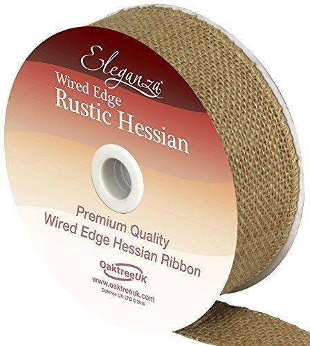 Eleganza rustique et bords découpés en toile de jute de qualité ruban 32 mm X 9,1 m Couleur naturelle