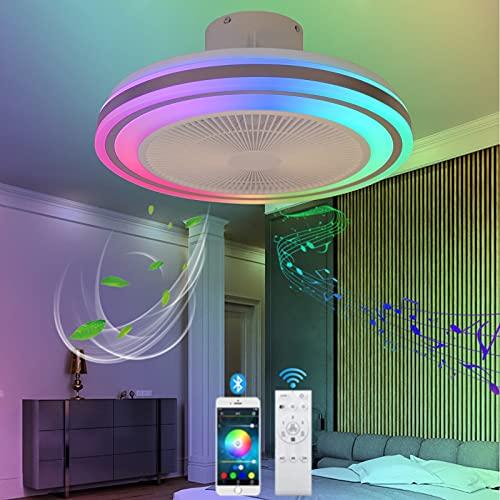 VOMI LED Plafoniera Dimmerabile Ventilatore da Soffitto con Telecomando RGB Cambia Colore Ventilatore da Soffitto con Lampada Bluetooth Altoparlante Moderno Silenzioso Ventilatore per Camera da Letto