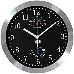 hito Modern Silent Wall Clock Non Ticking 10 inch Excellent Accurate Sweep Movement Silver Aluminum Frame Glass Cover, Decorative for Kitchen, Living Room, Bedroom, Bathroom, Bedroom, Office (Black)