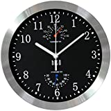 hito Modern Silent Wall Clock Non Ticking 10 inch Excellent Accurate Sweep Movement Silver Alum…