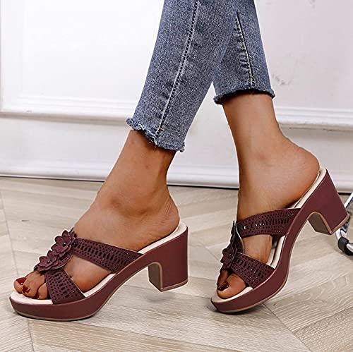 URIBAKY - Zapatillas de ocio al aire libre para mujer, transpirables, informales, de tacón grueso, elegante, con correas, cómodas, planas, zapatos de playa, (vino.), 39 EU