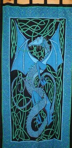 Celtic Dragon Tab Top Curtain-Drape-Door Panel-Blue
