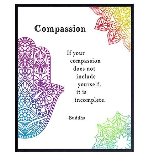 Compassion Buddha Quote - Inspirational Zen Wall Art Decor - 8x10 Buddhism Poster Print for Spa Decoration, Yoga, Meditation Room - Namaste Buddhist Gift - Hamsa Hand of Fatima, Mandala, Lotus, Om