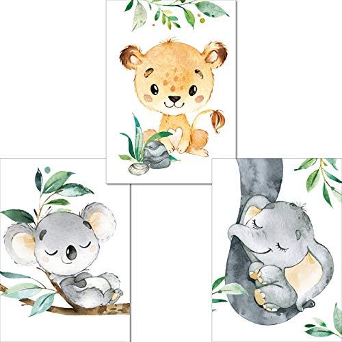 LALELU-Prints | 3er Set Bilder Kinderzimmer Poster | Zauberhafte Dschungel-Tiere | Babyzimmer Deko | handgefertigt mit Liebe zum Detail (DIN A4 ohne Rahmen)