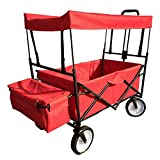 NOSSON Foldable Utility Wagon Collapsible Sports Outdoor Cart with Removable Canopy, Large Capacity