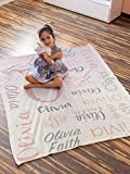 Personalized Name Blanket for Your Kids. Custom Throw Blanket with Name of Your Family, Name Blanket for Granddaughter, Baby Girl and Baby Boy Name Blanket. Great Gift for Birthday, Christmas