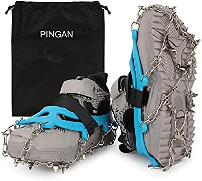 High Stream Gear Ice Cleats for Kids - Snow Grips with 14 Stainless Steel Spikes, Anti Slip Traction Grippers for Boys and Girls Boots or Shoes for Hiking, Climbing, Walking, Jogging on Ice (Blue)